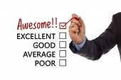 stock photo of comparison  - Tick placed in awesome checkbox on customer service satisfaction survey form - JPG