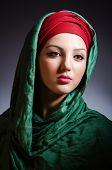 foto of burka  - Muslim woman with headscarf in fashion concept - JPG