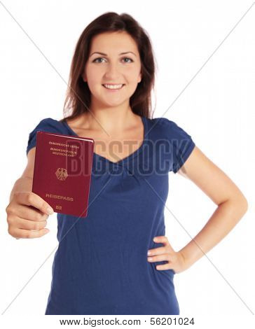 Attractive young woman holding a german passport. All isolated on white background.