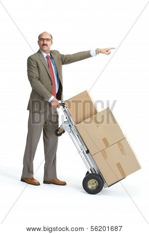 Businessman And Handcart. Gesture