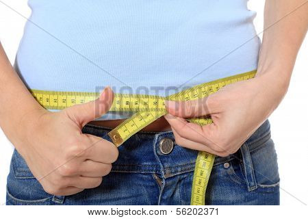 Female person measuring her hip. All on white background.