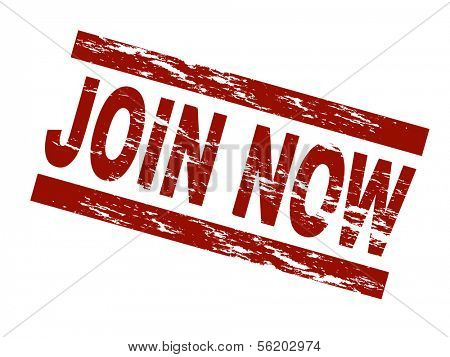 Stylized red stamp showing the term join now. All on white background.