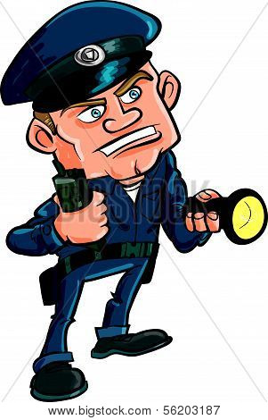 Cartoon security guard with flashlight. Isolated on white