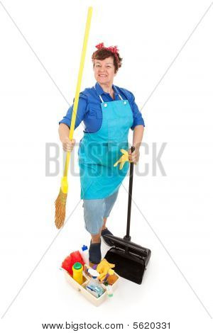 Cleaning Lady Isolated