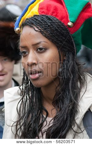 Jerusalem, Israel - March 15: Purim Carnival, Portrait Of An Unidentified Young Ethiopian Woman