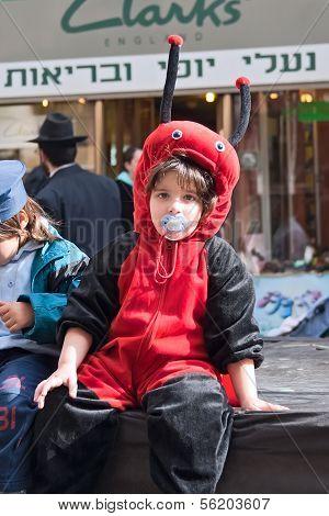 Jerusalem, Israel - March 15: Purim Carnival,portrait Of An Unidentified Little Boy Dressed