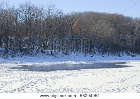 Hidden Falls Park River Bluffs Winter Scenic