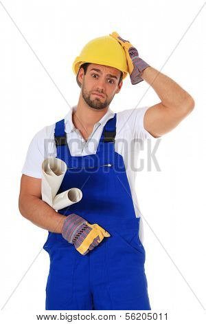 Clueless construction worker. All on white background.