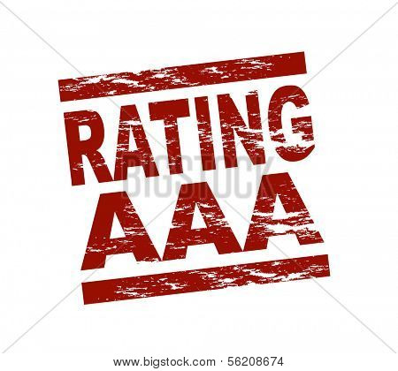 Stylized red stamp showing the term Rating AAA. All on white background.