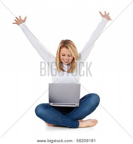 Full length cheering teenage girl with laptop. All on white background.