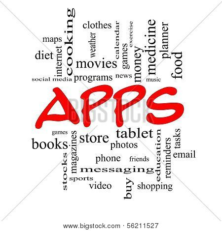 Apps Word Cloud Concept In Red Caps