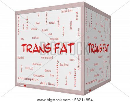 Trans Fat Word Cloud Concept On A 3D Cube Whiteboard