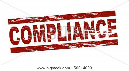Stylized red stamp showing the term compliance. All on white background.