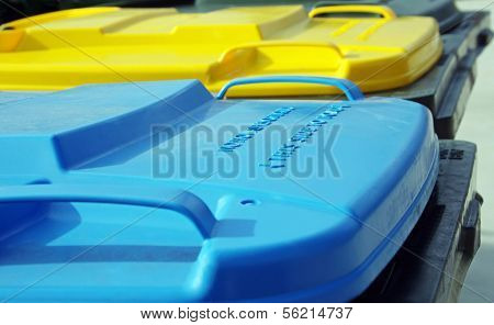 plastic rubbish bins
