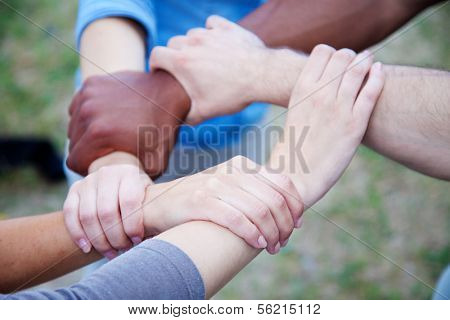 Various people holding hands symbolizing loyalty.