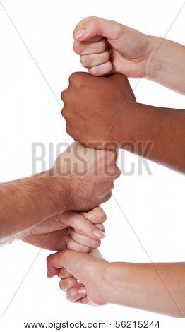 Various hands showing loyalty. All on white background.