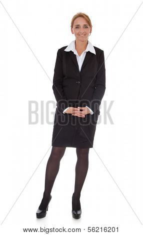 Attractive mature businesswoman. All on white background.