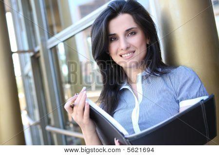 Pretty Business Woman Outside Office