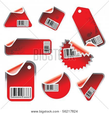 red vector tag and sticker set with bar codes