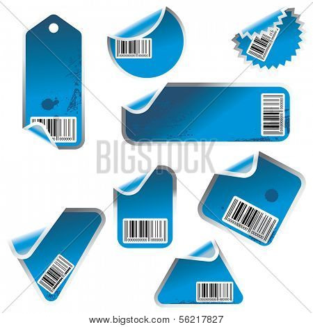 blue vector tag and sticker set with bar codes