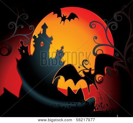 halloween illustration with full orange moon