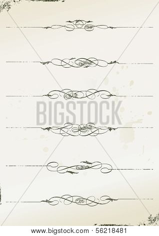 curly grunge page rules - vector illustration