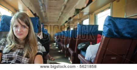 Girl Passanger Sitting Inside Train