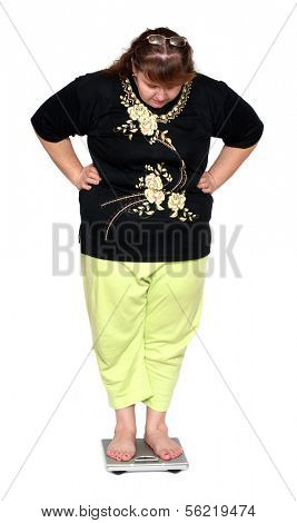 women with overweight looking on scales isolated on white