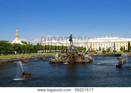 Neptune fountain in petergof park Saint Petersburg Russia