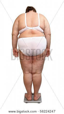 women with overweight in underwear from behind on scales