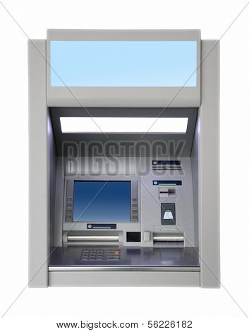 wall cash dispense isoalted on white