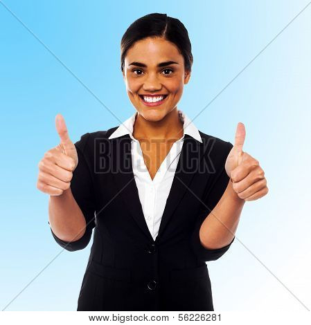 Corporate Woman Showing Double Thumbs Up