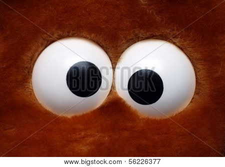 close-up view on fun eyeballs of soft toy