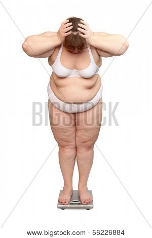 women with overweight in underwear on scales