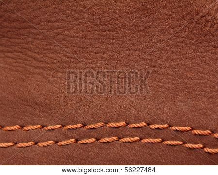 brown leather suede with sewn seams background