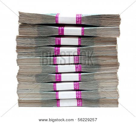 million rubles - stack of bills in packs of Russian