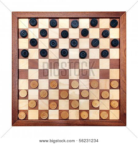 wooden checkerboard with checkers spaced isolated on white