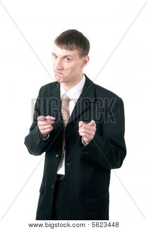 Gesturing Young Businessman Showing With A Index Fingers