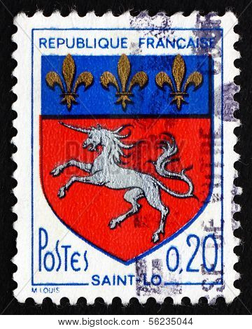 Postage Stamp France 1966 Arms Of Saint-lo