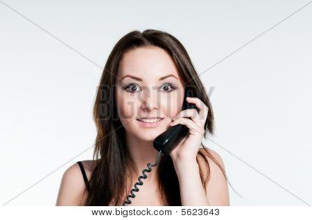 Surprised Girl Speaking On Phone