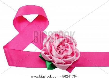 Red Satiny Tape Combined In Figure Eight And An Artificial Flower On It