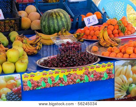 Fruit Sold On The Promenade Along The Beach,