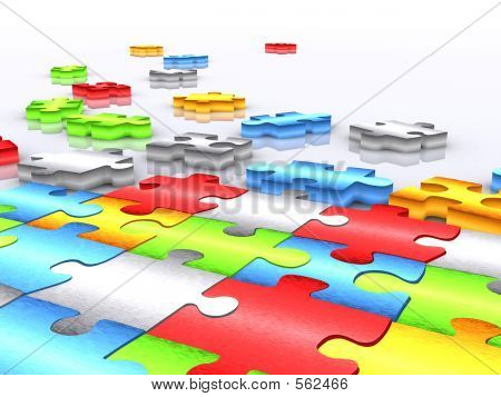 Colourful Unfinished Puzzle - 3d Render