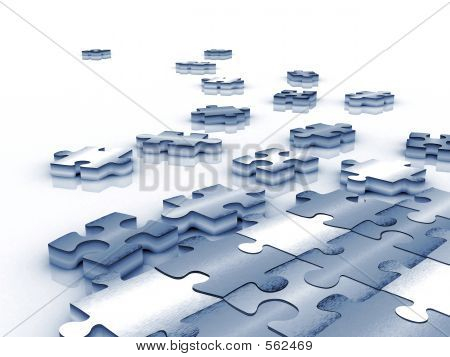 Blue Tinted Unfinished Puzzle - 3d Render