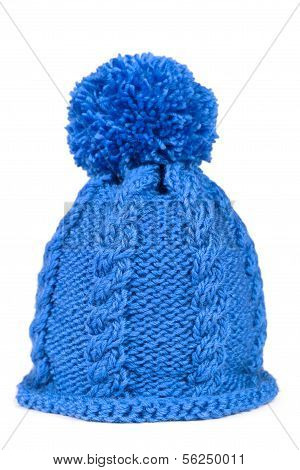 Knitted Hat With A Pompon