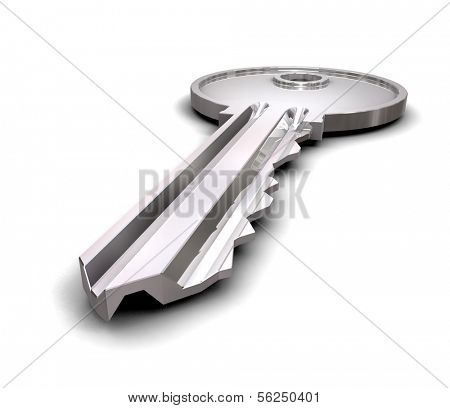 Key  isolated on white. 3d illustration.