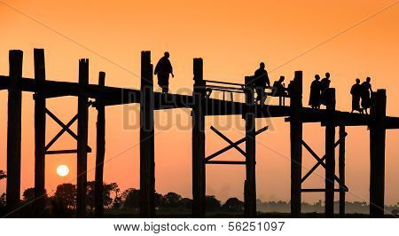 U Bein Bridge At Sunset, Myanmar