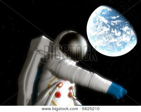 Spaceman With Alien Planet