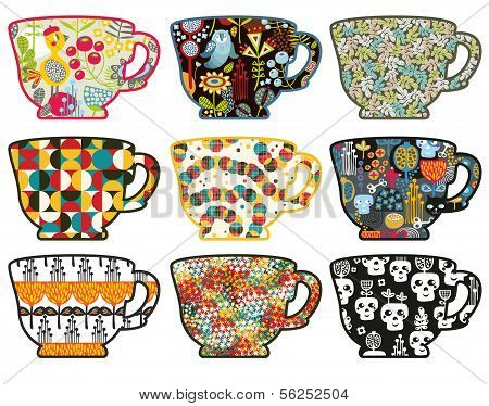 Collection of tea cups with different patterns.