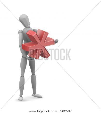 Man Holding Asterix Symbol